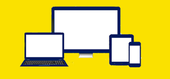 Icons of a laptop, desktop, tablet and mobile, as ways to access telehealth