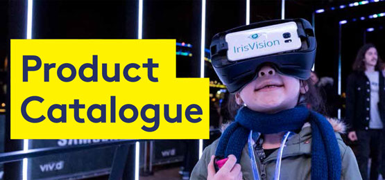 Young girl wearing IrisVision goggles