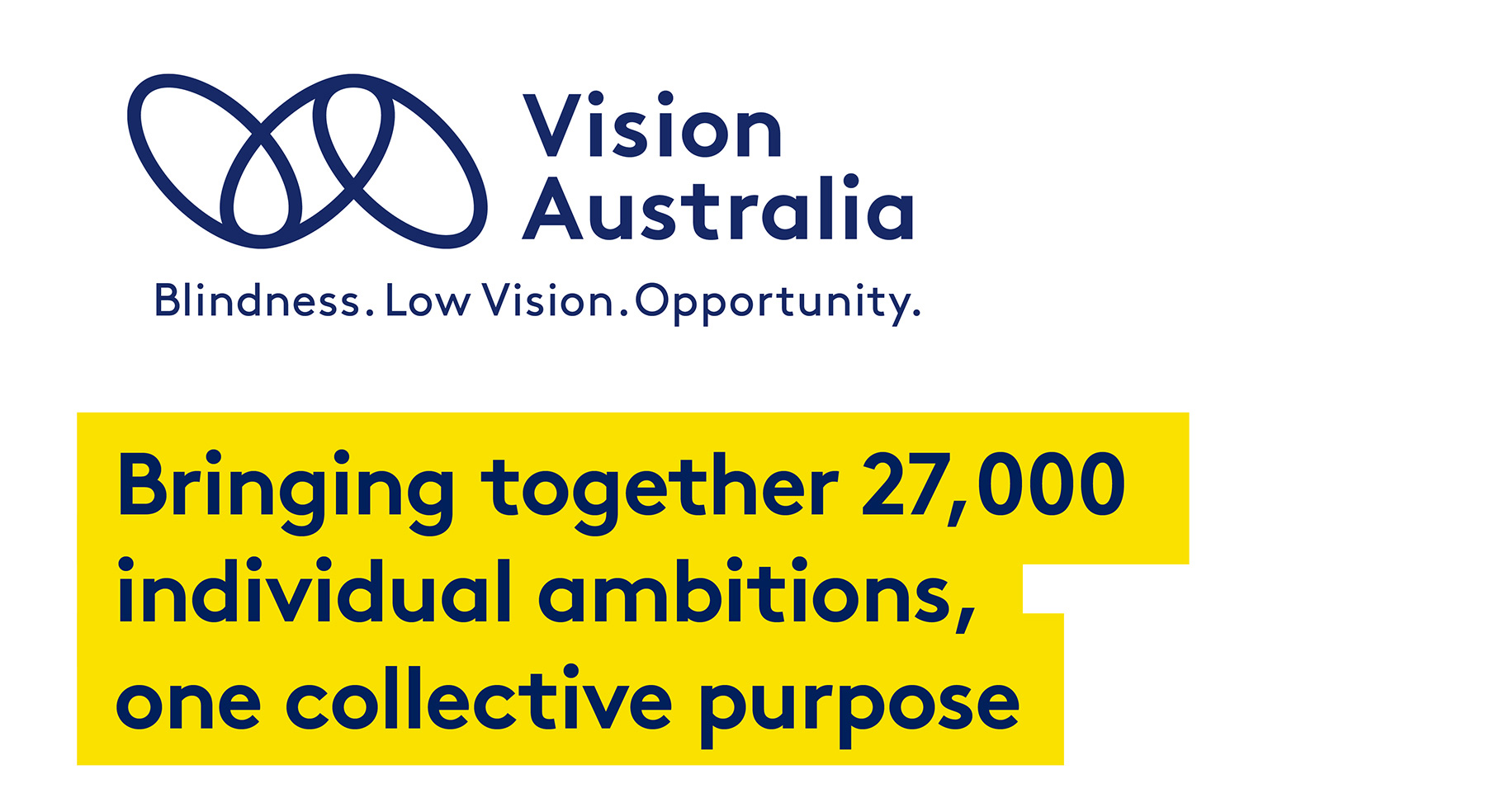 Vision Australia logo. Tagline: Blindness. Low Vision. Opportunity. Text reads: bringing together 27,000 individual ambitions, one collective purpose.