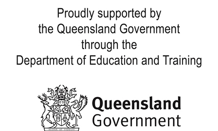 Queensland Government logo with text proudly supported by the Queensland Government through the Department of Education and Training